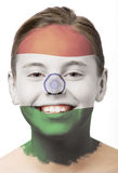 Pintura da face - bandeira de India Imagens de Stock