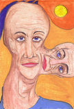 Pintura da face de um homem Fotografia de Stock Royalty Free