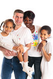 pintura da família da Misturado-raça Fotos de Stock Royalty Free