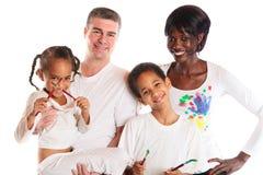 pintura da família da Misturado-raça Imagem de Stock Royalty Free