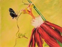 Pintura da flor e da borboleta da paixão Fotos de Stock Royalty Free