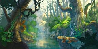Pintura da floresta da fantasia Fotografia de Stock