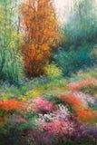 Pintura da lona do óleo: Prado da mola com flores e as árvores coloridas Fotos de Stock