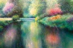 Pintura da lona do óleo: Prado da mola com natureza, rio e árvores de Coloful Fotos de Stock Royalty Free