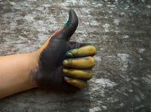 Pintura da mão com símbolo do sinal da cor imagens de stock