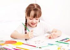 Pintura da menina com aguarela Imagens de Stock Royalty Free