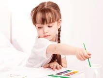 Pintura da menina com aguarela Imagem de Stock