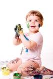 Pintura da menina com mãos foto de stock royalty free