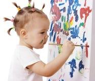 Pintura da menina em uma placa Fotos de Stock Royalty Free