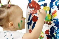 Pintura da menina em uma placa branca Foto de Stock