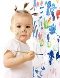 Pintura da menina em uma placa branca Fotos de Stock