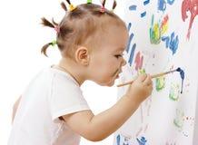 Pintura da menina em uma placa branca Imagem de Stock Royalty Free