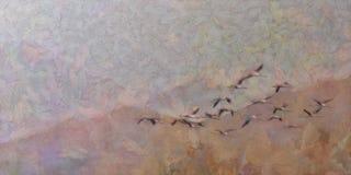Pintura da migração dos flamingos do lago fotos de stock royalty free