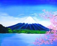 Pintura da montanha de Fuji Fotos de Stock