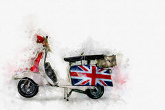 Pintura da motocicleta retro, estilo de Digitas da aquarela Fotos de Stock