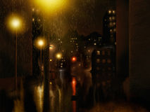 Pintura da noite da cidade da chuva Imagens de Stock