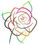 Pintura da rosa do rosa do curso da escova ilustração do vetor