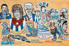 Pintura da rua que retrata diversos músicos cubanos famosos no Lit Imagens de Stock Royalty Free