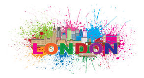 A pintura da skyline de Londres chapinha a ilustração do vetor do texto da cor Foto de Stock Royalty Free