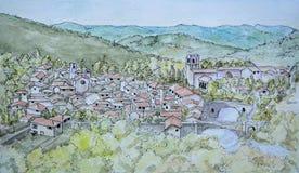 Pintura da tinta e do Watercolour de Lagrasse Fotografia de Stock Royalty Free
