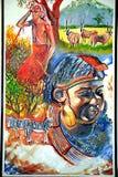 Pintura da vida do maasai do Kenyan Imagens de Stock