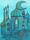 Pintura da vila oriental Imagem de Stock Royalty Free