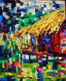 Pintura das cores de óleo de Straw Hut ilustração do vetor