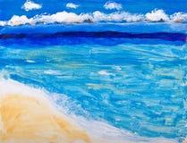 Pintura das férias da praia e do oceano fotografia de stock