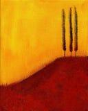 Pintura de árboles en la colina ilustración del vector