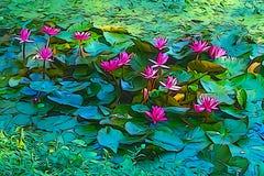 Pintura de óleo do lírio de água vermelha, imagem artística fotografia de stock royalty free