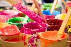 Pintura de óleo e escovas de pintura Fotografia de Stock
