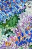 Pintura de aceite coloreada multi de los lenguados casuales caóticos abstractos en un verti Imagen de archivo