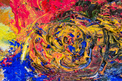 Pintura de aceite colorida triturada con los pigmentos del polvo Foto de archivo libre de regalías