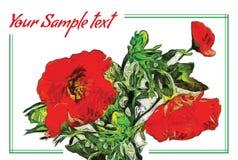 Pintura de aceite de la bandera con el ramo de amapolas rojas Imagen de archivo