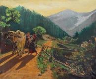 Pintura de aceite retra - pueblo idílico Imagen de archivo