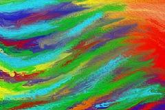 Pintura de acrílico colorida del extracto de ondas fotografía de archivo libre de regalías