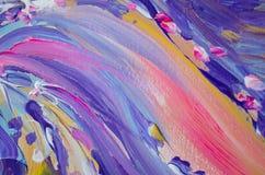 Pintura de acrílico dibujada mano Fondo del arte abstracto Pintura de acrílico en lona Textura del color Fragmento de las ilustra Fotografía de archivo libre de regalías