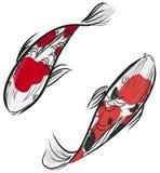 Pintura de Artisic de los pescados japoneses de la carpa (Koi) Fotografía de archivo libre de regalías