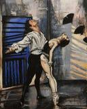 Pintura de bailarines agraciados stock de ilustración