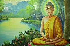 Pintura de Buda en templo fotografía de archivo