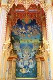 Pintura de Buddha en la pared en templo Imagen de archivo