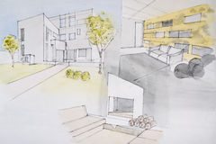 Pintura de casa ilustração stock