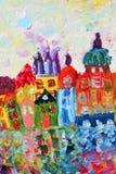 Pintura de casas engraçadas Fotos de Stock Royalty Free