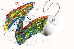 Pintura de Computermouse con color Fotografía de archivo libre de regalías