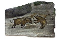 Pintura de cuevas de los mercados de Bull y de oso Foto de archivo