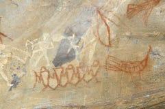 Pintura de cuevas prehistórica en Bhimbetka - la India. Imagenes de archivo
