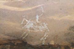 Pintura de cuevas prehistórica en Bhimbetka - la India. Fotos de archivo