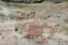 Pintura de cuevas prehistórica en Bhimbetka - la India. Imagen de archivo
