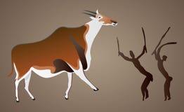 Pintura de cuevas si el bosquimano de San ilustración del vector