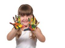 Pintura de dedo pré-escolar feliz da criança Imagem de Stock